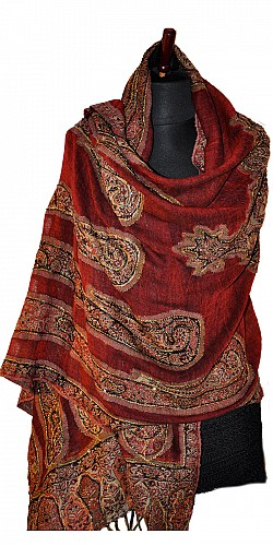 Burgundy Hand Beaded Jamawar Wool Shawl